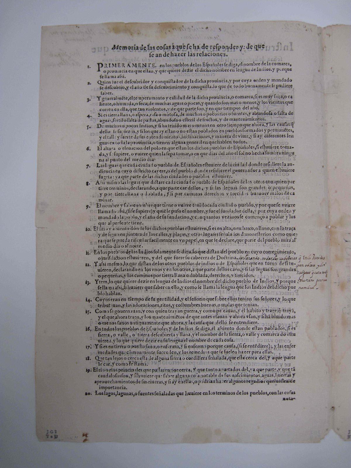 Relación de Metztitlan, October 1, 1579, courtesy of the Benson Latin American Collection