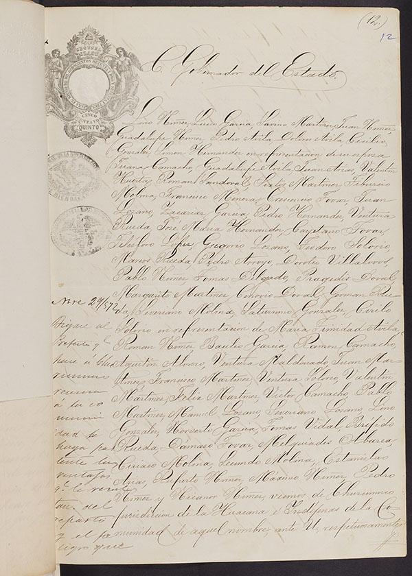 elegant handscript text on aging paper - mexican land privatization document