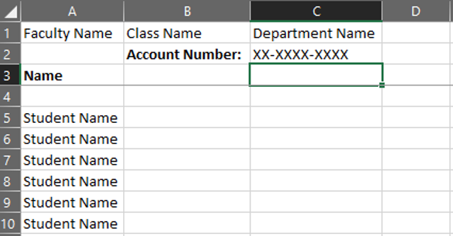 Excel spreadsheet format for IDT