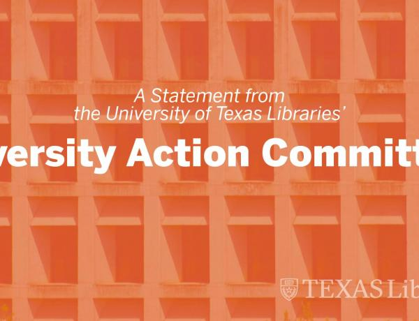 "Graphic with text, ""A statement from the UT Libraries' Diversity Action Committee"