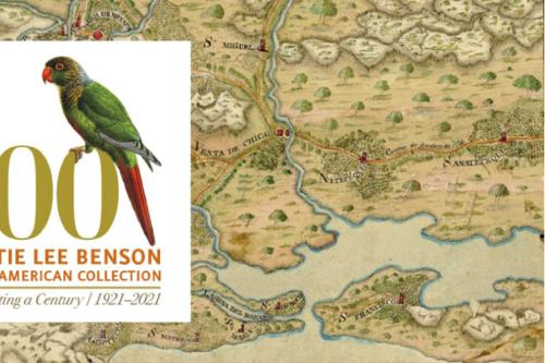 parrot lithograph with benson 100 graphic on historical map