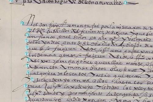 screen capture of otr on handwritten latin american manuscript