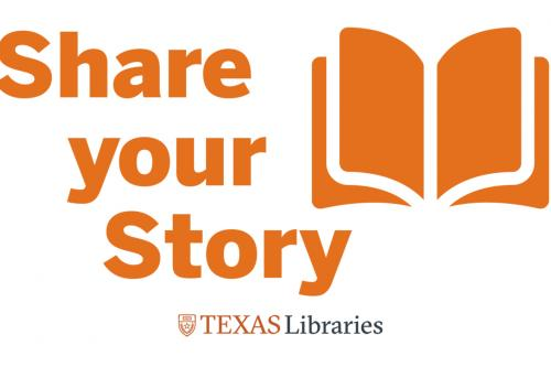 """logo for stories campaign, """"Share Your Story"""" with book graphic and Texas Libraries logo"""