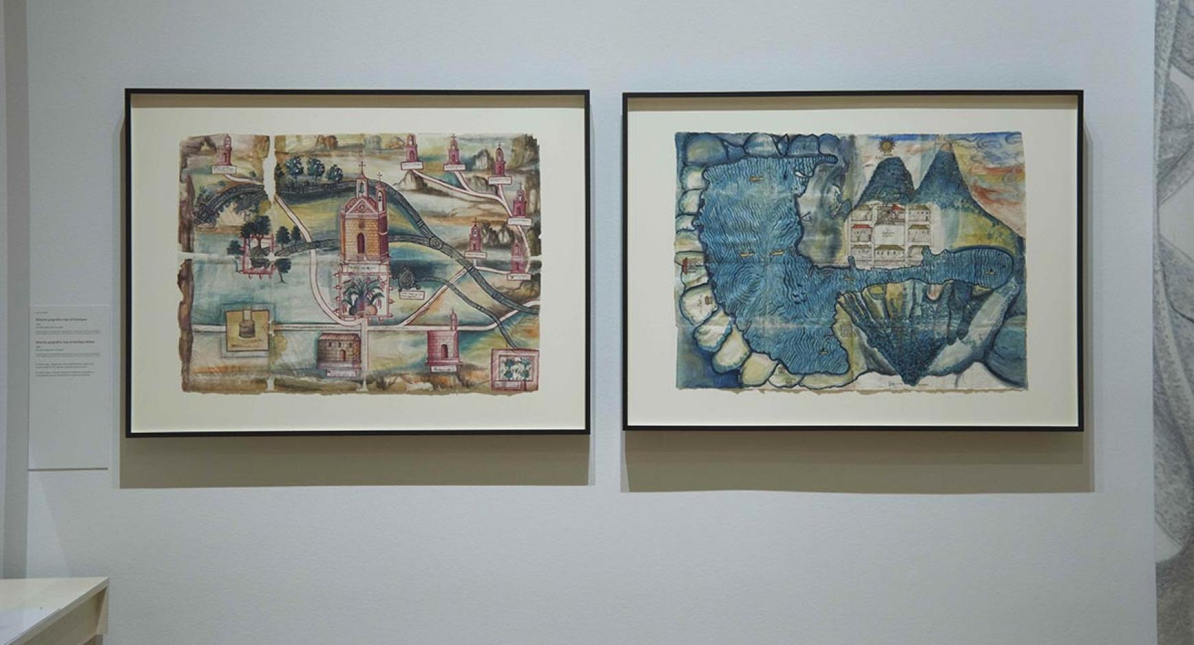 Guaxtepec (left) and Atitlan maps at the Huntington.