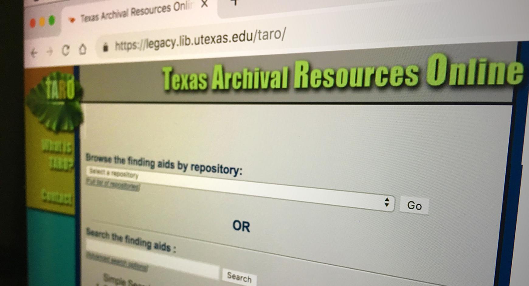 TARO Website in browser window.