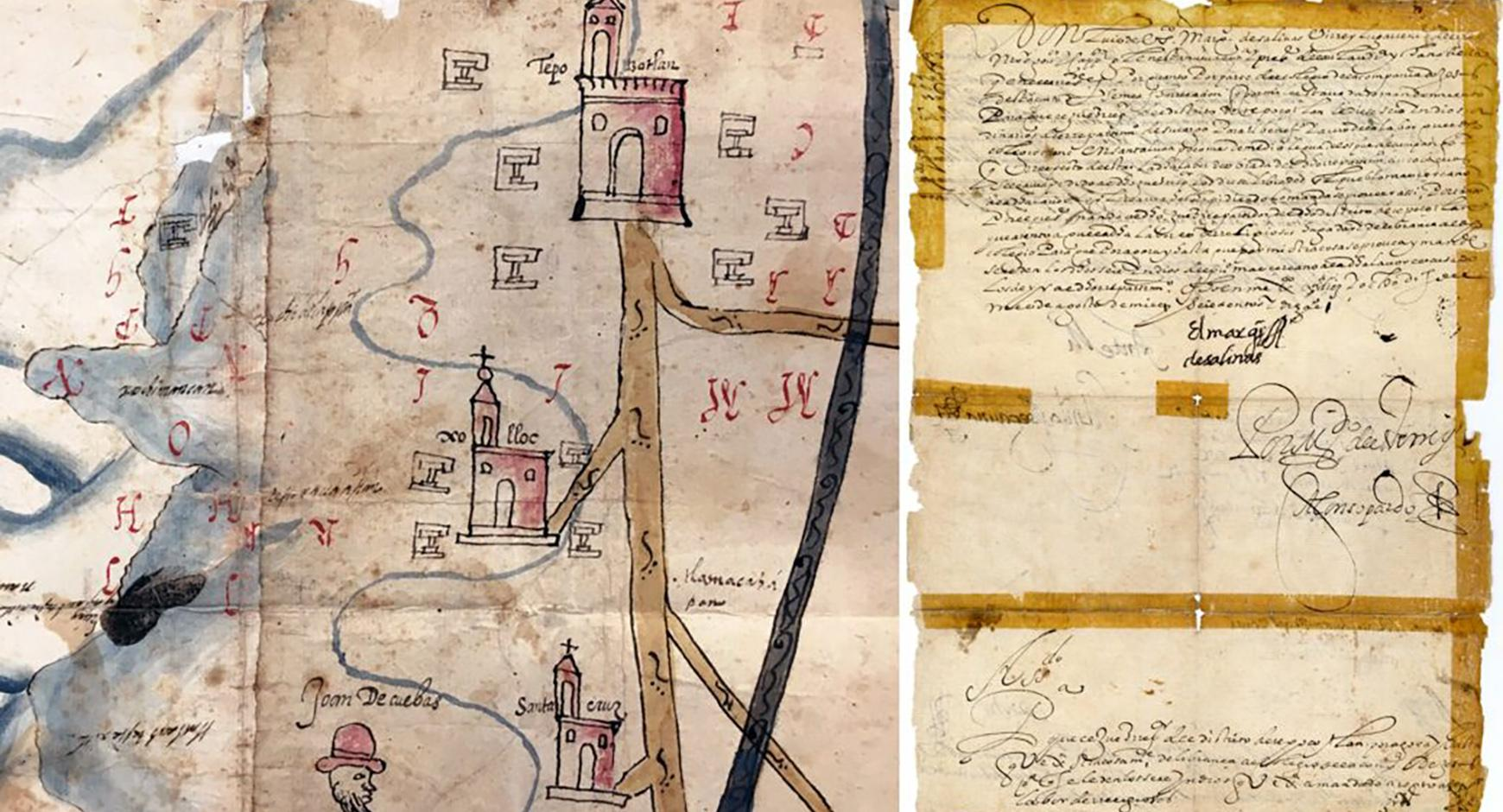 Pictorial representation of the lands owned by the Jesuit College of Tepozotlán, circa 1600–1625 (left). Viceregal decree ordering Tepozotlán's repartidor to provide the Jesuit college with Native laborers, August 18, 1610 (right). Edmundo O'Gorman Collec