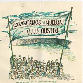 Card supporting the Economy Furniture Co. strike in Austin, 1970.