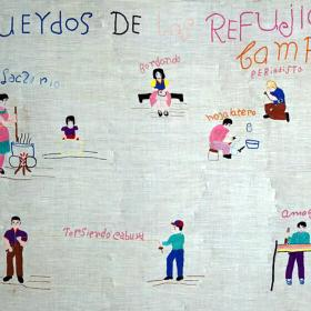 Embroidered piece remembering a Salvadoran refugee camp and the people and activities associated with it.