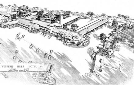 Detail from rendering for Western Hills Hotel in Fort Worth,Texas