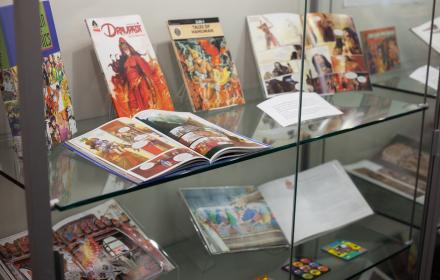 South Asian books displayed in a glass case