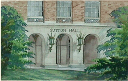 Detail of Sutton Hall, Watercolor on paper