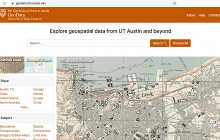 screen capture of the texas geodata portal homepage