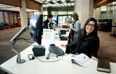Checkout desk at the PCL