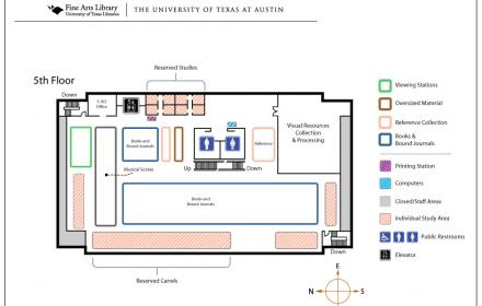 Fine Arts Library - 5th floor map