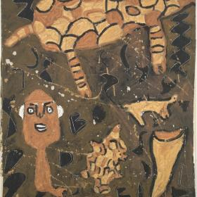brown and black painting of animal shapes and figure