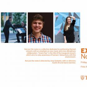 three head shots of performers with descriptive text in orange
