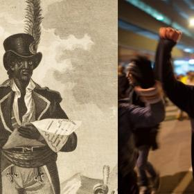 image of a woodcut of african american dressed in colonial military suit and an image of a woman raising a fist in protest