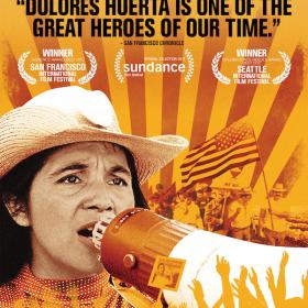 film poster with woman speaking into megaphone