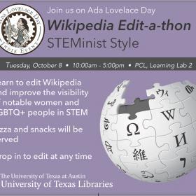 edit-a-thon details and description on purple background