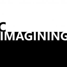 the text epic imaginings in black and white text