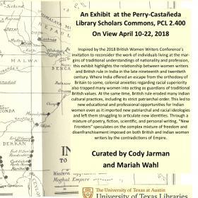 exhibition description text over cream map