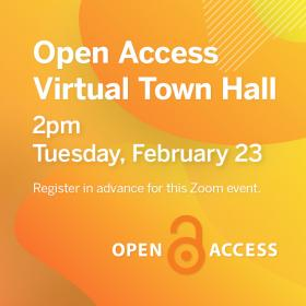 Open Access at UT: A Virtual Town Hall. Text on abstract orange and yellow background.