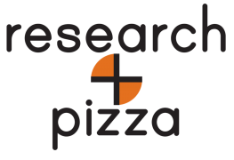 research and pizza logo in black and orange