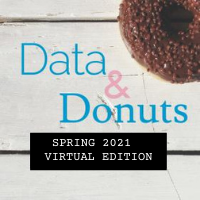 TEXT data and donuts spring 2021 virtual edition over white wooden planks with donut in top right corner
