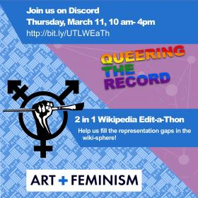 art and fem wikipedia-thon white event description text on blue squares with Queering the record rainbow logo and combination of gender signs combined with raised fist holding paintbrush