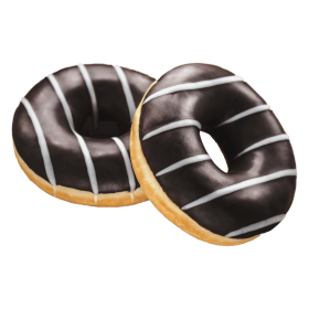 a drawing of two chocolate glazed donuts with icing