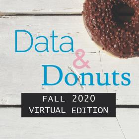 donut in corner on wood plank table with text over reading data and donuts fall 2020 virtual edition