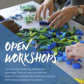 workshop series poster with hands hovering over blue and green legos