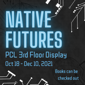 """blue glowing text that reads """"native futures ppl 3rd floor display"""" on black background with white circuitboard components"""
