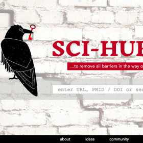 sci hub website with red text and black bird