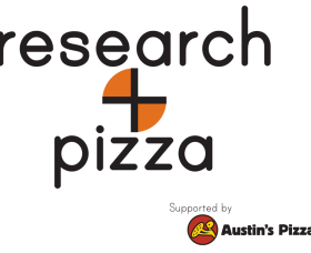 research and pizza logo with the plus sign made to look like pizza slices