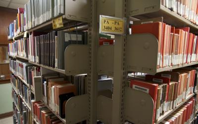 Book stacks at the Classics Library